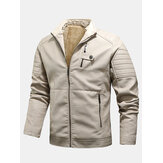 Mens PU Leather Zip Front Thicken Jackets With Zipped Welt Pockets