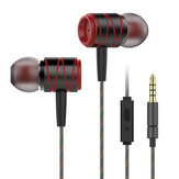 Metal 3.5mm Wired Control In-ear Heavy Bass Earphone Headphone with Mic for iPhone Samsung