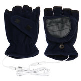1 paar USB elektrisch verwarmde handschoenen Winter Warm Soft Vingerloze want Unisex