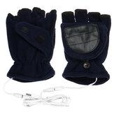 1 Pair USB Electric Heated Gloves Winter Warm Soft Fingerless Mitten Unisex