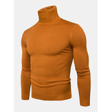Herren Einfarbige High Neck Cotton Knit Casual Langarmpullover