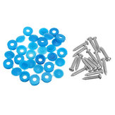 16Pcs Licence Number Plate Phillips Self Tapping Screw with Hinged Blue Cover Caps