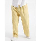 زائد الحجم رجالي الصلبة اللون القطن الرباط السراويل مع جيب