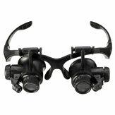 10x 10x 20X 25X نظارات نظارات LED مصباح المكبر العدسة مجوهرات الحفاظ مع 8 قطعة استبدال