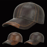 Collrown Mens Cowhide Leather Solid Baseball Cap Casual Sunshade Sport Adjustable Snapback Cap