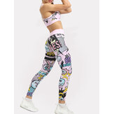 Women Casual Fuit Letter Print Yoga High Waist Pants Sport Bra Two Pieces Sets
