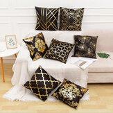 45 x 45 cm Federa natalizia Federa dipinta dorata in bianco e nero Federa decorativa natalizia per cuscini per divano