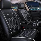 7 PCS PU Couro Assento de Carro Protetor de Capa de Almofada Set para 5 Carros Assento Preto Branco Universal