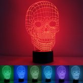 3D Skull Illusion LED Table Desk Light USB 7 Color Changing Night Lamp Home Decor