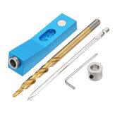 Alliage d'aluminium à trou de gabarit de trou de poche avec aimant et embout de foret pas à pas 9,5mm outil de travail du bois trou oblique