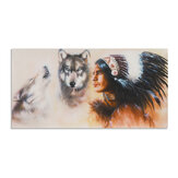 1 Piece Canvas Print Painting Indian Man Wolf Wall Decorative Art Picture Frameless Wall Hanging Home Office Decoration