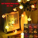 3M 6M LED Artificia Rose Flower Fairy String Light Home Party Wedding Holiday Decorazioni natalizie lampada AC110V / 220V
