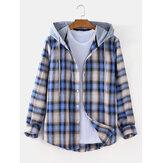 メンズチェック柄曲線裾長袖カジュアル緩い巾着フード付きジャケット