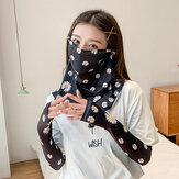 Protector solar para mujer Verano al aire libre Manga de seda de hielo Protector de brazo Manga Cubierta transpirable Velo facial Mascara