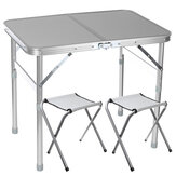 Foldable Desk with 2 Chairs Folding Picnic Table with 2 Stools Aluminum Laptop Desk Chair Set Height Adjustable Portable Outdoor Camping Dining BBQ Party Table