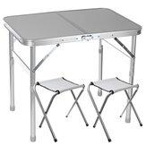 Opvouwbaar bureau met 2 stoelen Opvouwbare picknicktafel met 2 krukken Aluminium laptop bureaustoel Set In hoogte verstelbare draagbare Outdoor Camping Dineren BBQ-feesttafel