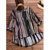 Women O-Neck 3/4 Sleeve High Low Hem Color Striped Blouse