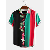 Men Blossom Colorful Stripe Mixed Print Short Sleeve Casual Holiday Shirts