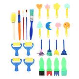 25 Sztuk Dla Dzieci Malowanie Gąbka Roller Brush Graffiti Pen Farby Rysunek Zabawki DIY Narzędzia