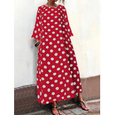Women Polka Dot Print Crew Neck Long Sleeve Maxi Dress