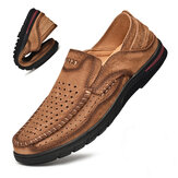 Men Cowhide Leather Outdoor Hollow Non Slip Breathable Casual Hiking Shoes