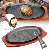 3FormatiCastIronSteakFajita Sizzling Platter Piatto BBQ Grill Pan cottura supporto in legno