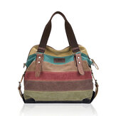 Women Casual Stripe Canvas Handbags Micro-Fibric Leather Sho