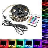 1M 2M 3M 4M USB 5V 5050 60SMD / M RGB LED Strip ضوء TV Backlilghting Kit + 24Key التحكم عن بعد مراقبة