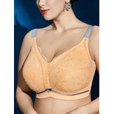 Plus Size Wireless Leicht gefütterte Full Cup Gather Lace J Cup Gelbe BHs