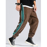 Corduroy Mens Side Stripe Pocket Drawstring Beam Feet Casual Pantalones