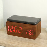 Wooden Digital Electronic Clock Alarm Clock With Wireless Charging Function