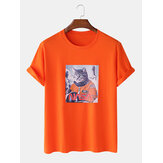 Men 100% Cotton Fun Pilot Cat Print Casual Home Short Sleeve T-Shirts