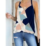 Geometric Print Halter V-neck Sleeveless Casual Cami