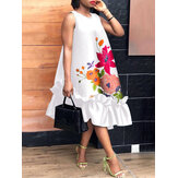 100%Polyester Summer Holiday Printing Loose Dress For Women