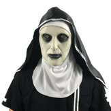 Halloween Scared Female Ghost Headgear Nun Horror Valak Scary Latex Mask Party Trick Props With Headscarf