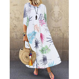 Bohemian 3/4 Lengan O-neck Floral Print Kasual Maxi Dress