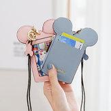 かわいい動物の形のカードホルダーウォレット財布ネックウォレットストラップウォレット