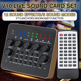 External Sound Card, Multi-functional V10 Sound Effects Digital Audio Mixer USB Headset Microphone Mobile Computer Live Sound Card, Ideal for Live Recording, Home KTV, Voice Chat, etc