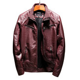 Winter Fleece Faux Leather PU Biker Motor Jacket for Men