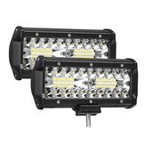 2PCS 7 pouces 120W LED Light Bar 24000lm Spotlight Flood Off-Road Driving 4WD SUV