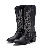 Bordado de couro feminino Padrão bico fino de salto grosso da moda Knight Boots