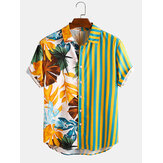 Men Tropical Leaf Colorful Stripe Mixed Print Short Sleeve Casual Holiday Shirts