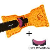 Drillpro Afilador de dientes de motosierra con afilador de sierra de piedra adicional Kit de afilado de cadena de motosierra de montaje en barra