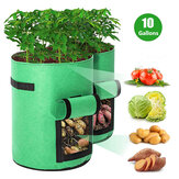 10/7 Gallon Potato Plant Grow Bags Double Door Pot Nonwoven Respirable Cloth Bags for Potato / Plant Indoor Outdoor Seedling Bags