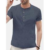 Retro Camisas de Algodão de Linho Sólido dos homens Verão Casual Soft Cool Tops Blusa Tee US