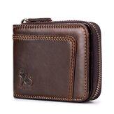 13ranurasparatarjetasRFIDbloqueo de billetera de cuero segura