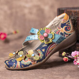 SOCOFY Retro Splicing Flowers Pattern Flat Hook Loop Leather Shoes