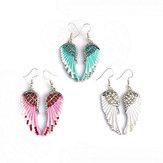 Śliczne damskie kolczyki Angel Wings Rhinestone Alloy Earrings