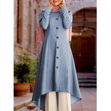 Женщины Solid Button Front Long Sleeve High Low Туника Кафтан Блузки