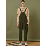 Mens Corduroy Solid Color Side Pocket Sleeveless Loose Jumpsuits